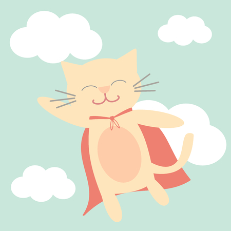 gato caricatura: gato superhéroe volando en la ilustración vectorial de dibujos animados divertido del cielo