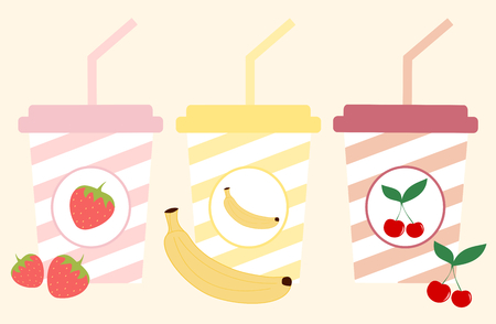 away travel: cute colorful paper cup with stripes set with fruits vector illustration
