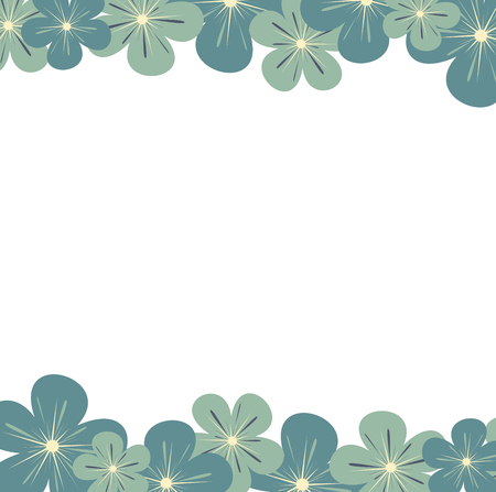 article: cute vector floral frame with pastel blue flowers