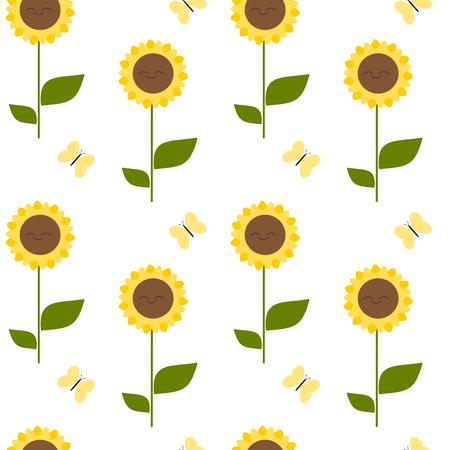 sun flowers: Cute cartoon sunflower seamless pattern vector background illustration