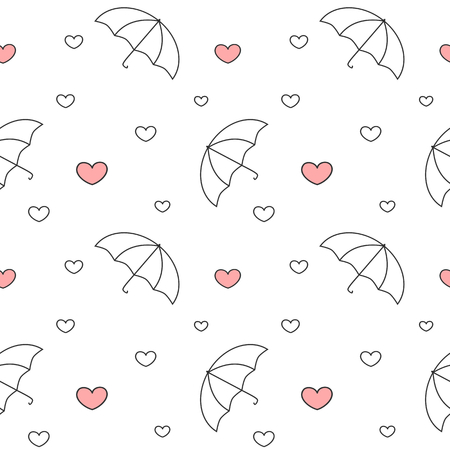 raining background: black and white umbrellas with raining hearts seamless pattern vector background illustration