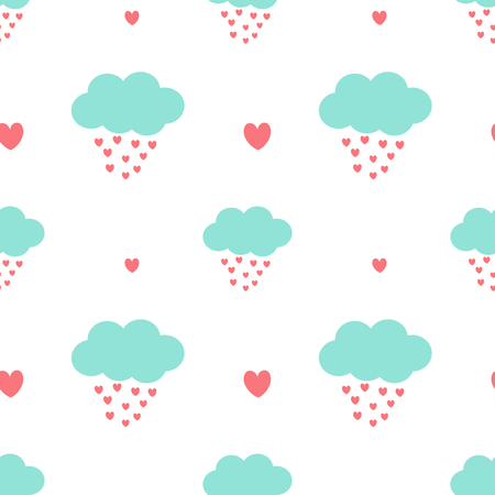 clouds cartoon: cute cartoon clouds drops hearts and lovely romantic seamless pattern vector background illustration Illustration