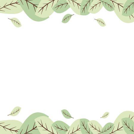 leaves frame: pastel green leaves frame border vector illustration Illustration