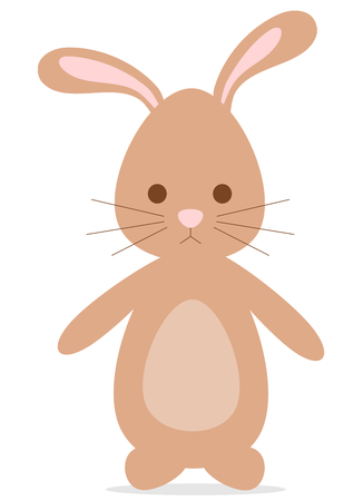 brown hare: cute lovely cartoon brown bunny rabbit vector illustration Illustration