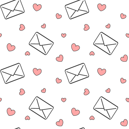 black and white Email love letters with red hearts seamless vector pattern romantic background illustration