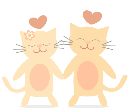love symbols: cute lovely cats in romantic love cartoon vector illustration