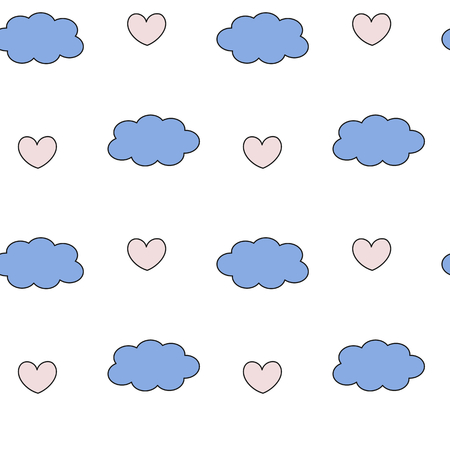 quartz: cute lovely rose quartz and blue serenity clouds and hearts seamless vector background pattern romantic illustration Illustration