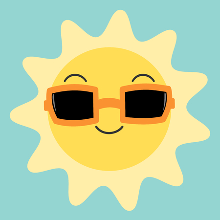 skin face: cartoon cute happy sun in the sky with sunglasses vector
