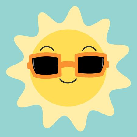 carita feliz caricatura: de dibujos animados feliz del sol en el cielo linda con gafas de sol del vector