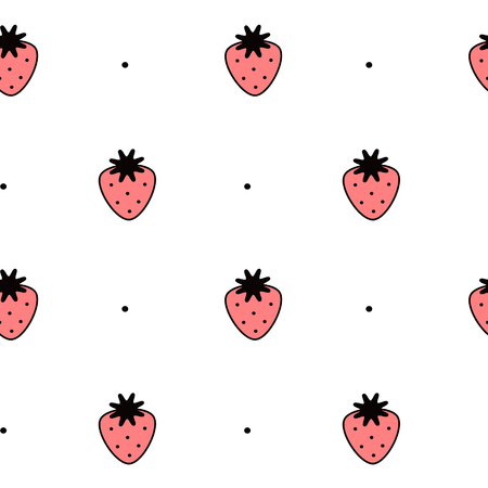 cartoon berries: black white and red strawberry seamless pattern vector background illustration