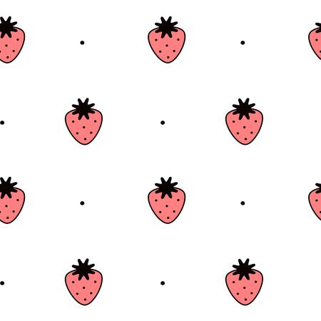 zwart wit en rode aardbei naadloze patroon vector achtergrond illustratie