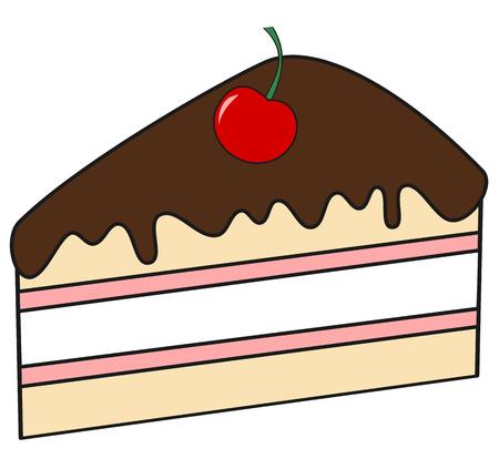 trozo de pastel: rebanada de dibujos animados lindo de la torta de chocolate y cereza ilustración vectorial