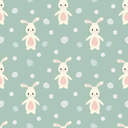 wallpaper: cute cartoon bunny rabbit with easter eggs seamless pattern vector background illustration