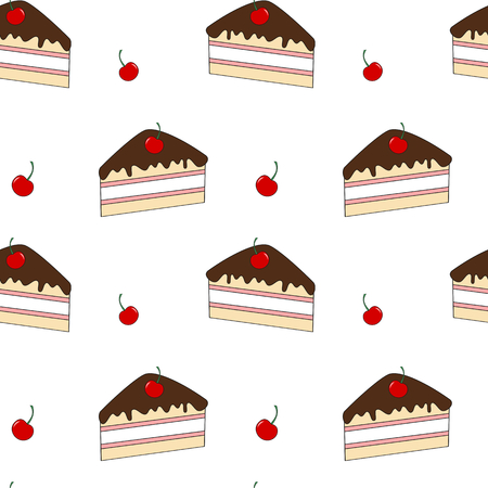 slice of cake: cute cartoon slice cake with cherry seamless vector background pattern