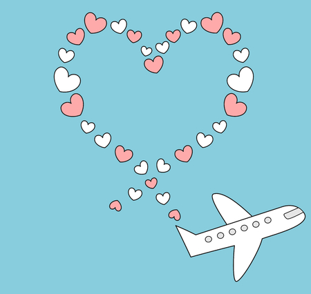 cartoon airplane flying in the blue sky and make heart shape cute romantic vector illustration