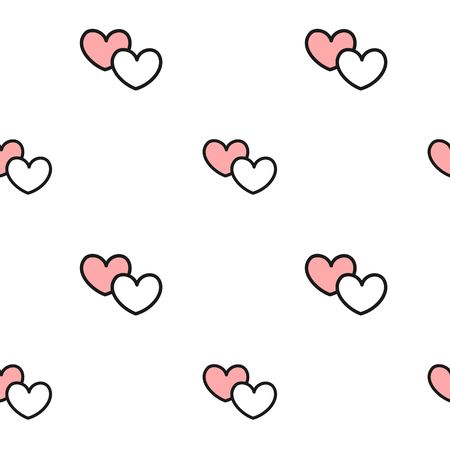 cute lovely romantic black white and pink hearts seamless pattern vector background illustration