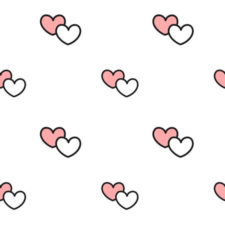 schattige mooie romantische zwarte witte en roze harten naadloze patroon vector achtergrond illustratie
