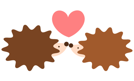 back to back couple: cute lovely cartoon hedgehog couple in love romantic vector illustration Illustration