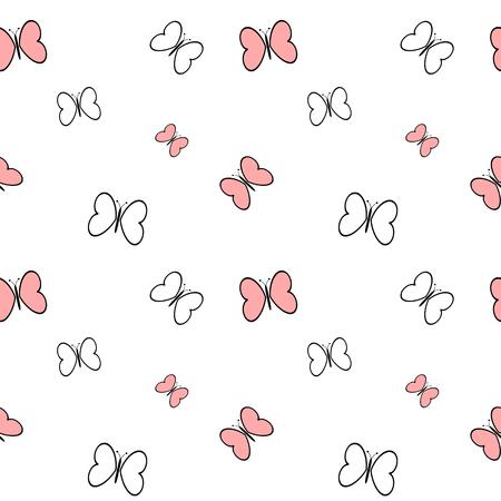 zwart wit roze cartoon vlinders naadloze patroon vector achtergrond illustratie