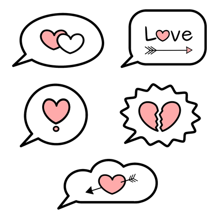 black white pink speech bubbles vector element design set with hearts love words and love symbol
