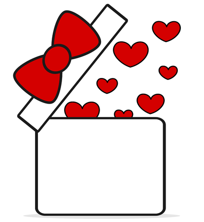 gift box open: cute cartoon red white gift box open with hearts concept vector illustration