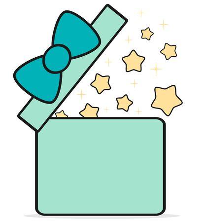 gift box open: cartoon cute gift box open with stars vector illustration