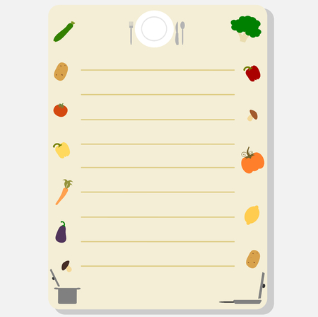 recipe book: cute colorful template frame for a recipe book or card vector illustration with vegetables Illustration