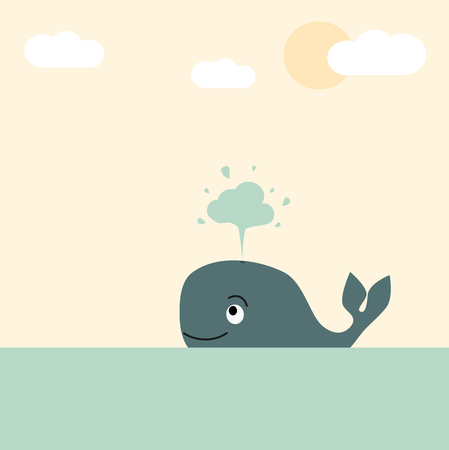 squirt: cute lovely cartoon whale in the sea pastel vector illustration for greeting card Illustration