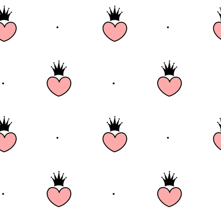 pink and black: black white pink vector seamless pattern background illustration with hearts and crowns Illustration