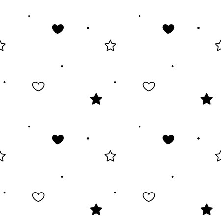 black white simple seamless vector background pattern illustration with hearts and stars Illusztráció