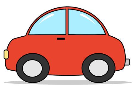 carro caricatura: ilustración vectorial coche rojo de dibujos animados Vectores