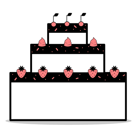 whipped cream: abstract cartoon black white pink cake with strawberries and whipped cream cherries vector illustration