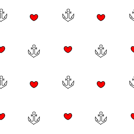 black white red: cute lovely black white red seamless pattern vector background illustration with anchor and heart