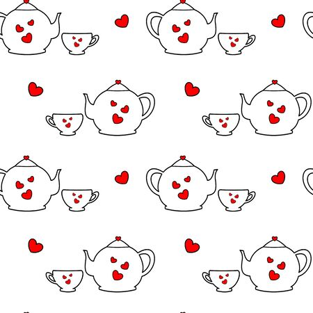 black white red: cute lovely cartoon black white red tea set with hearts seamless pattern vector background illustration Illustration