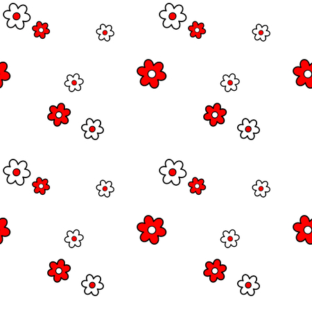 black white red: cute lovely black white red daisy flowers seamless pattern vector background illustration