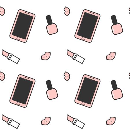 make a call: cute pink white black smartphone nail polish lipstick and lips vector seamless background pattern illustration Illustration