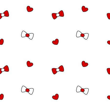 black white red: cute black white red bow ribbon and heart seamless pattern vector background illustration Illustration