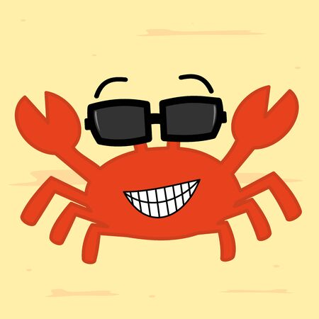 cangrejo caricatura: funny cartoon crab with sunglass on the beach vector illustration cute Vectores