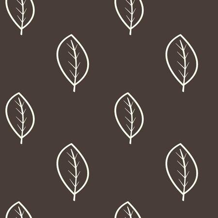 dark brown background: outline white leaves on dark brown background seamless pattern vector illustration