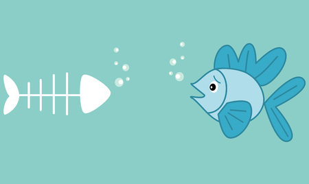 dead fish: cute cartoon little blue fish and fish bone funny concept vector illustration humor about dead