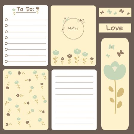 journal: vector cute romantic printable journal cards, notes, to do list, stickers and bookmarks with flowers illustration