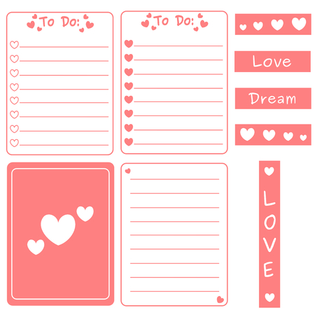 journal: cute pink vector set of printable templates for cards, notes, journal with hearts illustration Illustration