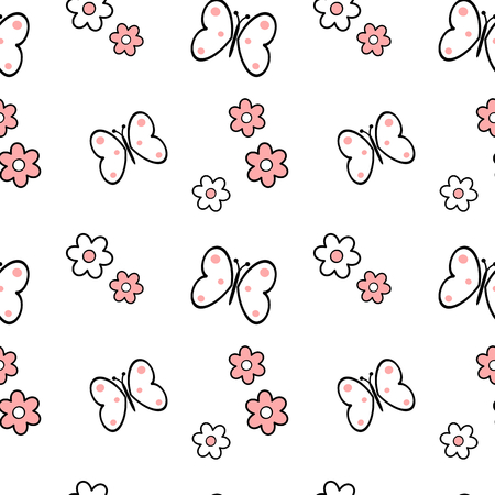 black white pink daisy flowers and butterflies seamless pattern vector background illustration