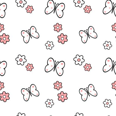 zwart wit roze daisy bloemen en vlinders naadloze patroon vector achtergrond illustratie Stock Illustratie