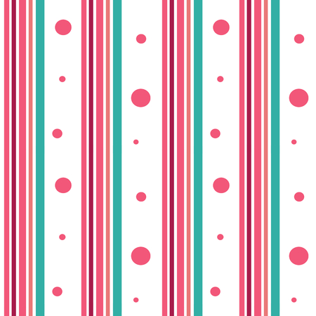 small articles: pink and blue stripes with pink circles pattern vector seamless background illustration