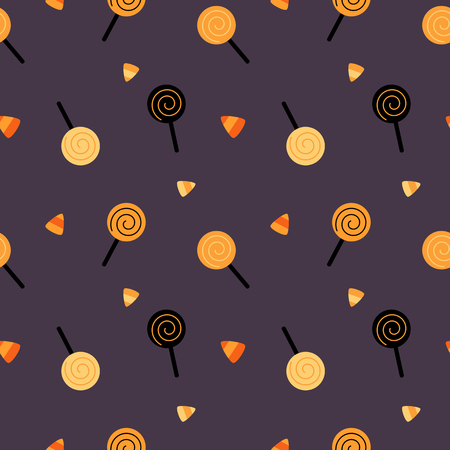 halloween background: halloween cute cartoon candies vector background pattern seamless illustration Illustration