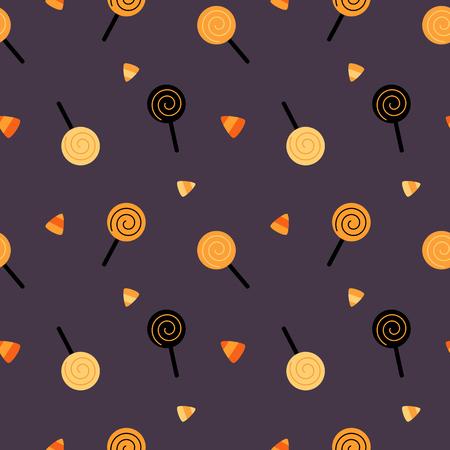 halloween cute cartoon candies vector background pattern seamless illustration Illustration