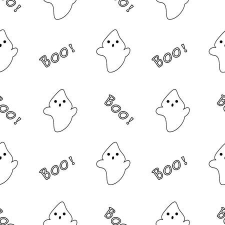 poltergeist: cute black white cartoon ghost vector pattern background seamless illustration