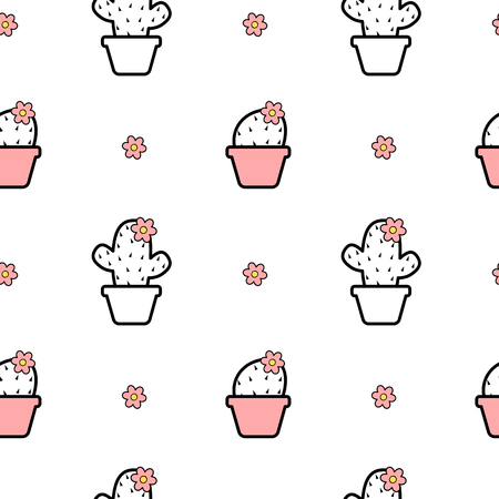 black white pink seamless vector background pattern illustration with cartoon cactus