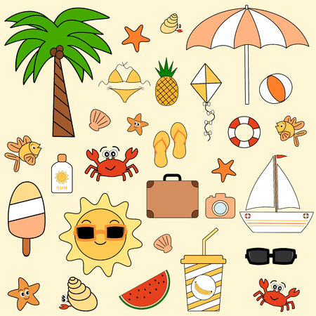 watermelon boat: cute cartoon summer vacation set collection vector illustration